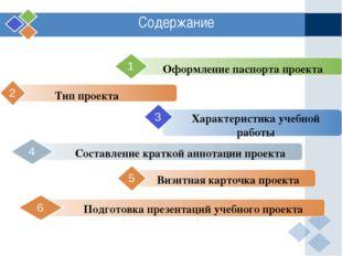 2 Содержание Оформление паспорта проекта 1 Подготовка презентаций учебного пр