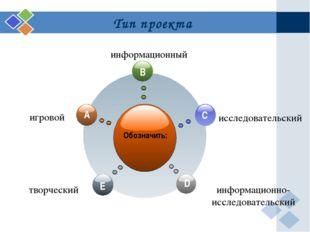 Тип проекта Обозначить: игровой информационный исследовательский творческий и