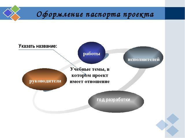 3 Оформление паспорта проекта руководителя работы исполнителей год разработки...