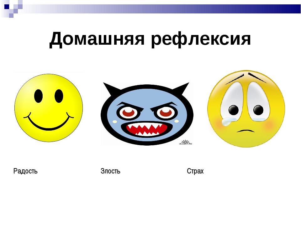 Домашняя рефлексия Радость Злость Страх