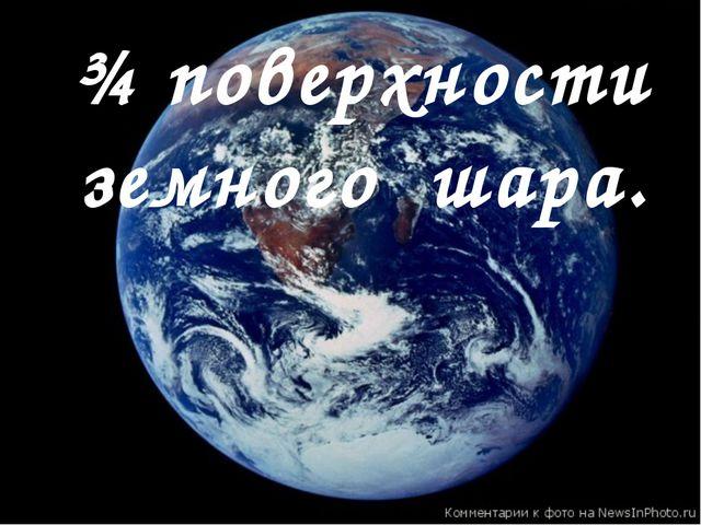¾ поверхности земного шара.