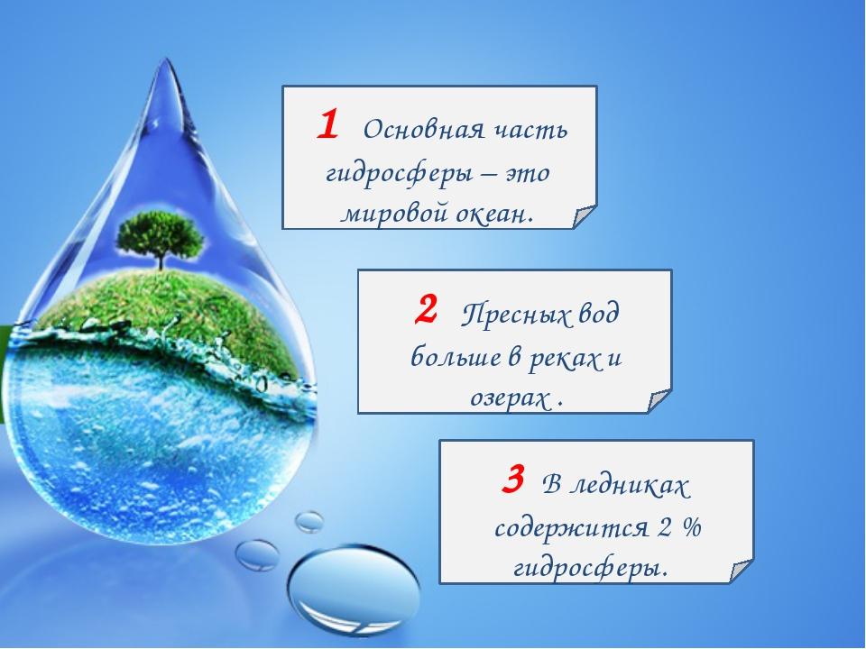 1 Основная часть гидросферы – это мировой океан. 2 Пресных вод больше в реках...