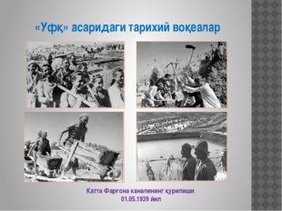 «Уфқ» асаридаги тарихий воқеалар Катта Фарғона каналининг қурилиши 01.05.1939