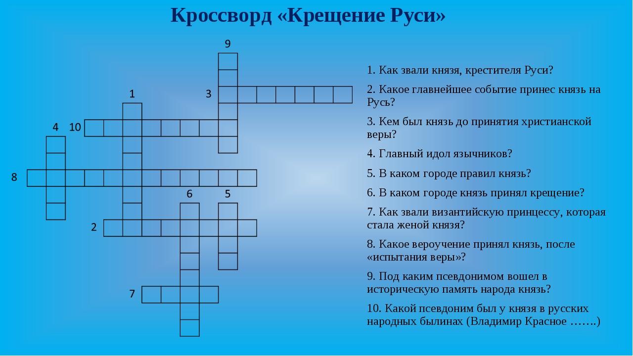 Кроссворд «Крещение Руси» 1. Как звали князя, крестителя Руси? 2. Какое главн...