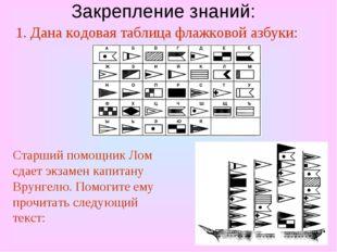 Закрепление знаний: 1. Дана кодовая таблица флажковой азбуки: Старший помощни