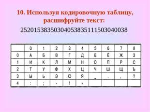 10. Используя кодировочную таблицу, расшифруйте текст: 2520153835030405383511
