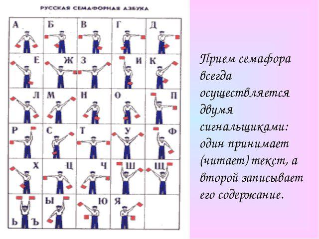 Прием семафора всегда осуществляется двумя сигнальщиками: один принимает (чит...