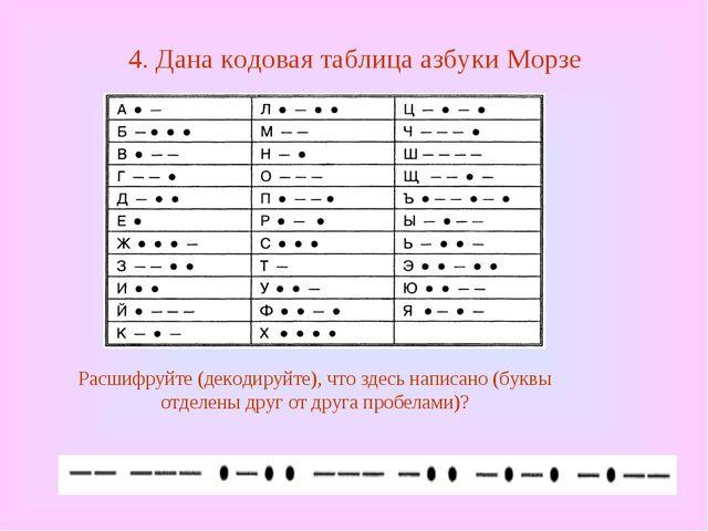 4. Дана кодовая таблица азбуки Морзе Расшифруйте (декодируйте), что здесь нап...