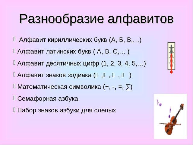 Разнообразие алфавитов Алфавит кириллических букв (А, Б, В,…) Алфавит латинск...