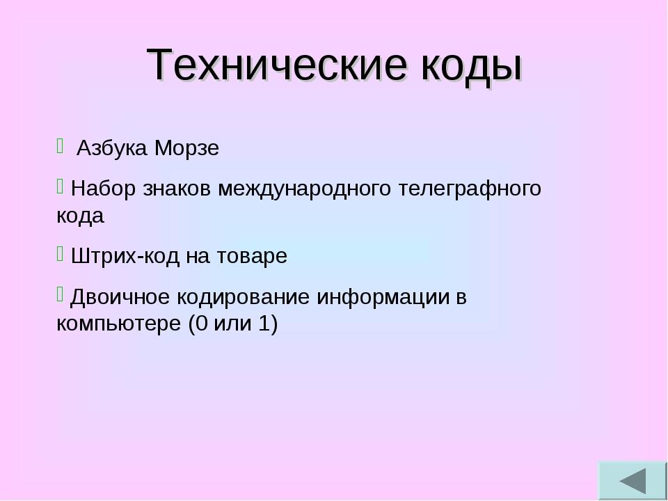 Технические коды Азбука Морзе Набор знаков международного телеграфного кода Ш...