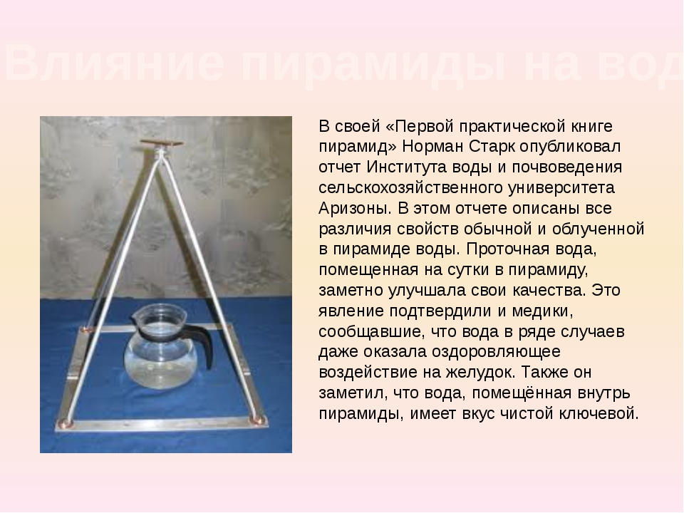 В своей «Первой практической книге пирамид» Норман Старк опубликовал отчет Ин...