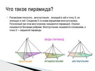 Рассмотрим плоскость , многоугольник , лежащий в ней и точку S, не лежащую в