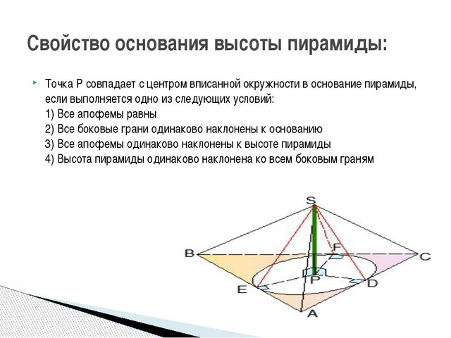 Точка P совпадает с центром вписанной окружности в основание пирамиды, если в...