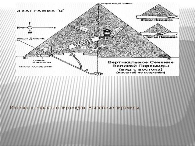 Интересные факты о пирамидах. Египетские пирамиды. Ермишко А.А.