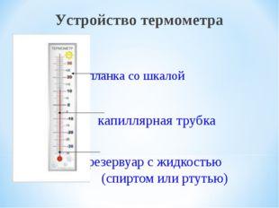 планка со шкалой ……… капиллярная трубка резервуар с жидкостью (спиртом или р