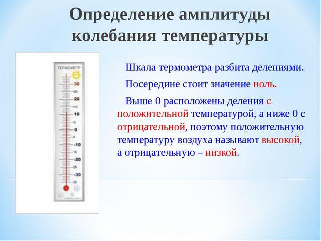 Шкала термометра разбита делениями. Посередине стоит значение ноль. Выше 0 р...