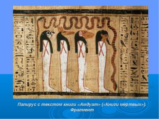 Папирус с текстом книги «Амдуат» («Книги мёртвых»). Фрагмент