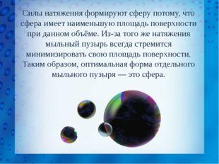 Силы натяжения формируют сферу потому, что сфера имеет наименьшую площадь пов