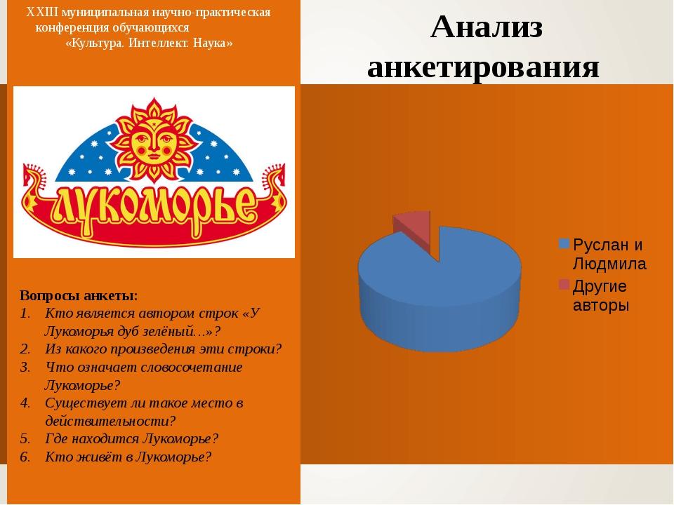 Анализ анкетирования XXIII муниципальная научно-практическая конференция обуч...