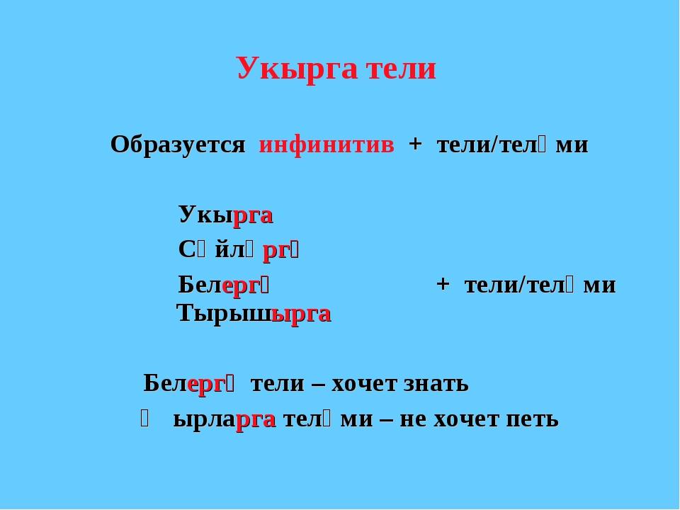 Укырга тели Образуется инфинитив + тели/теләми Укырга Сөйләргә Бел...