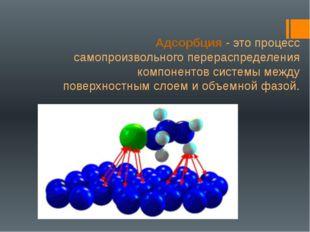 Адсорбция - это процесс самопроизвольного перераспределения компонентов систе