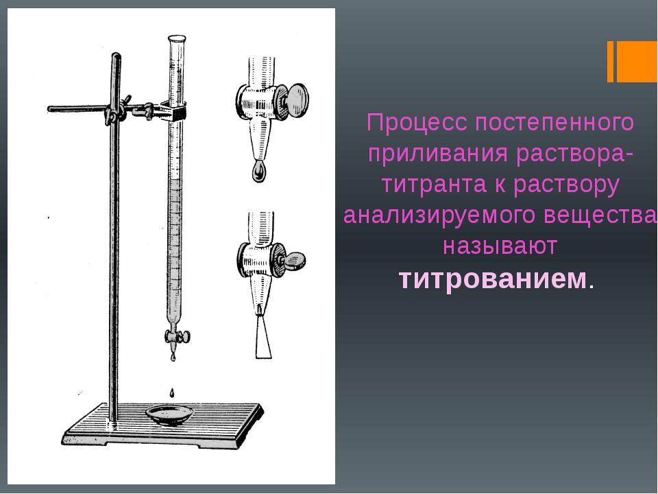 Процесс постепенного приливания раствора-титранта к раствору анализируемого в...