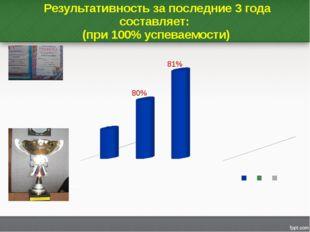 Результативность за последние 3 года составляет: (при 100% успеваемости)