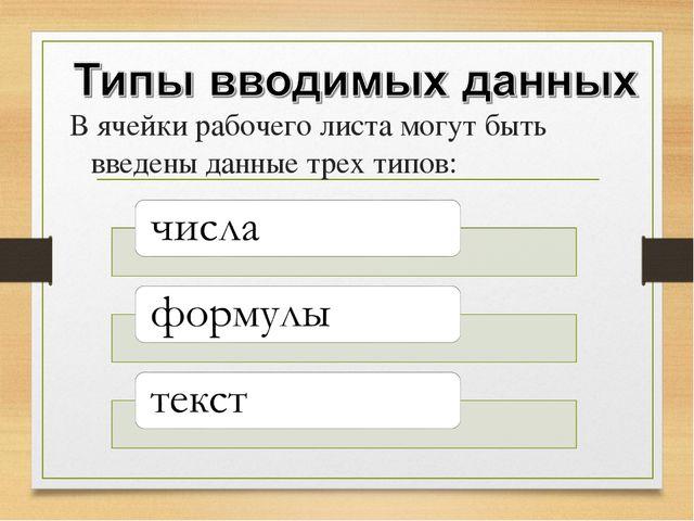 В ячейки рабочего листа могут быть введены данные трех типов: