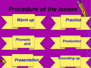 Procedure of the lesson Warm up Phonetic drill Presentation Practice Product