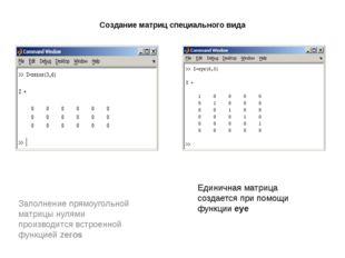 Создание матриц специального вида Заполнение прямоугольной матрицы нулями про