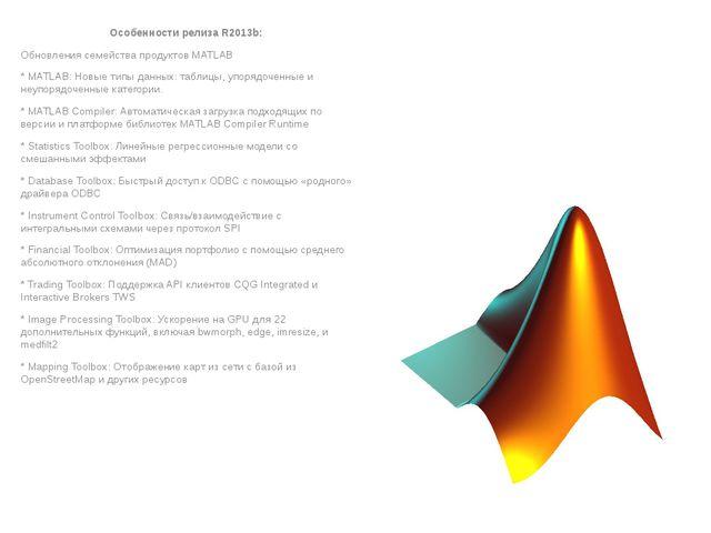 Особенности релиза R2013b: Обновления семейства продуктов MATLAB * MATLAB: Но...