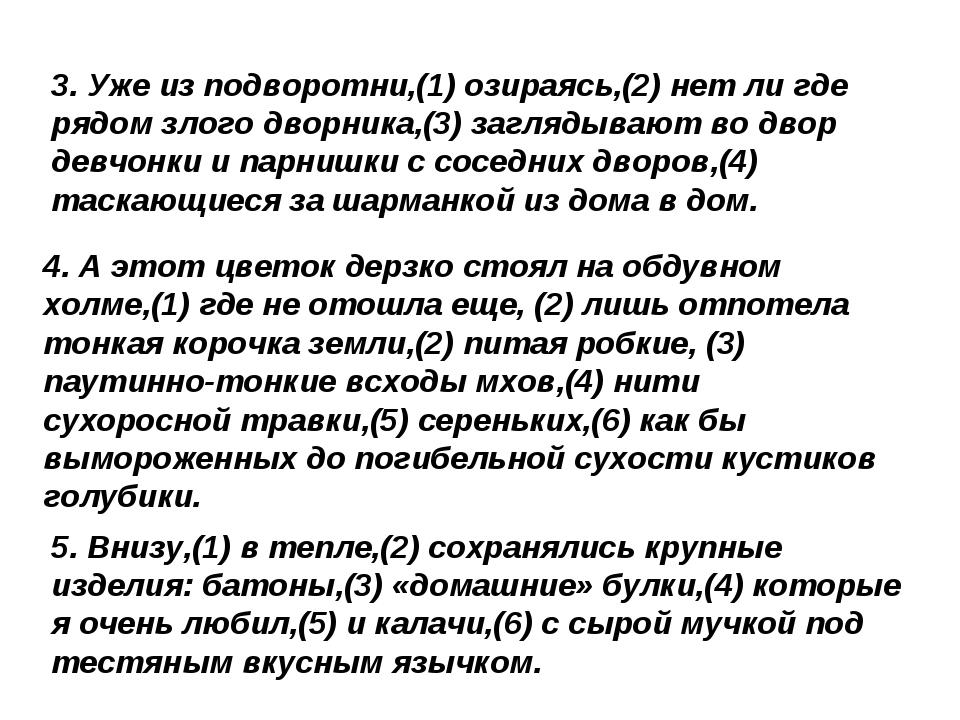 3. Уже из подворотни,(1) озираясь,(2) нет ли где рядом злого дворника,(3) заг...