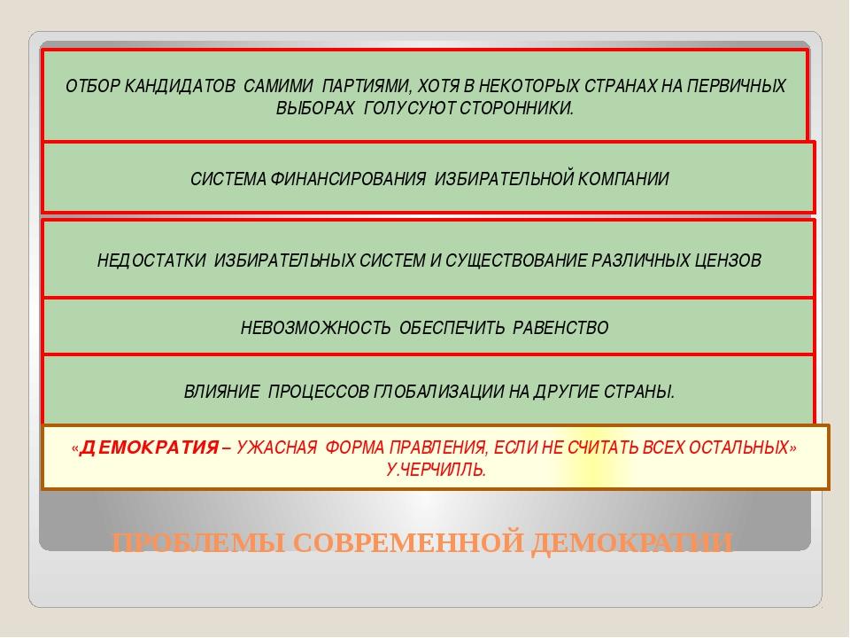 ПРОБЛЕМЫ СОВРЕМЕННОЙ ДЕМОКРАТИИ ОТБОР КАНДИДАТОВ САМИМИ ПАРТИЯМИ, ХОТЯ В НЕК...