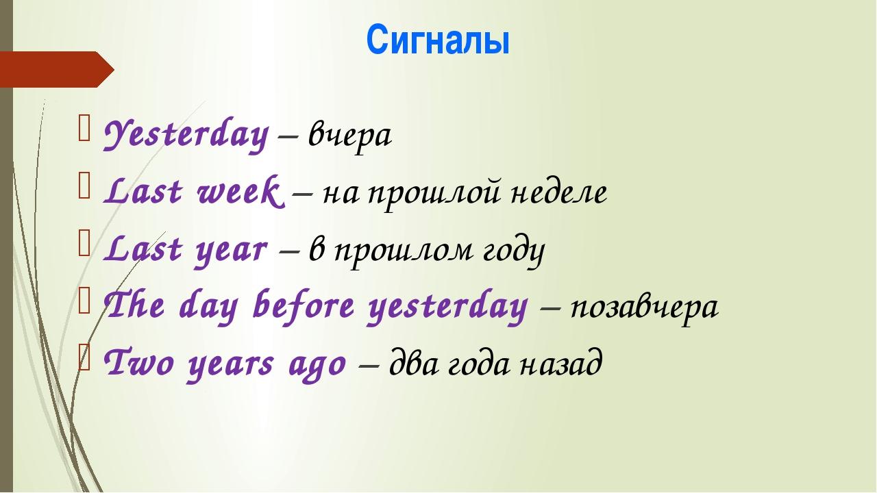 Сигналы Yesterday – вчера Last week – на прошлой неделе Last year – в прошлом...