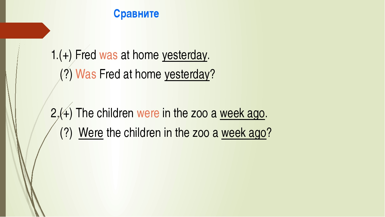 Сравните 1.(+) Fred was at home yesterday. (?) Was Fred at home yesterday? 2...