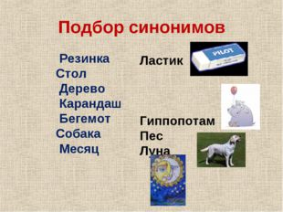 Подбор синонимов Резинка Стол Дерево Карандаш Бегемот Собака Месяц Ластик Гип