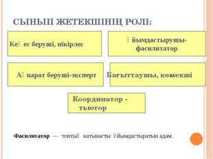 СЫНЫП ЖЕТЕКШІНІҢ РОЛІ: Координатор - тьютор Ақпарат беруші-эксперт Ұйымдастыр