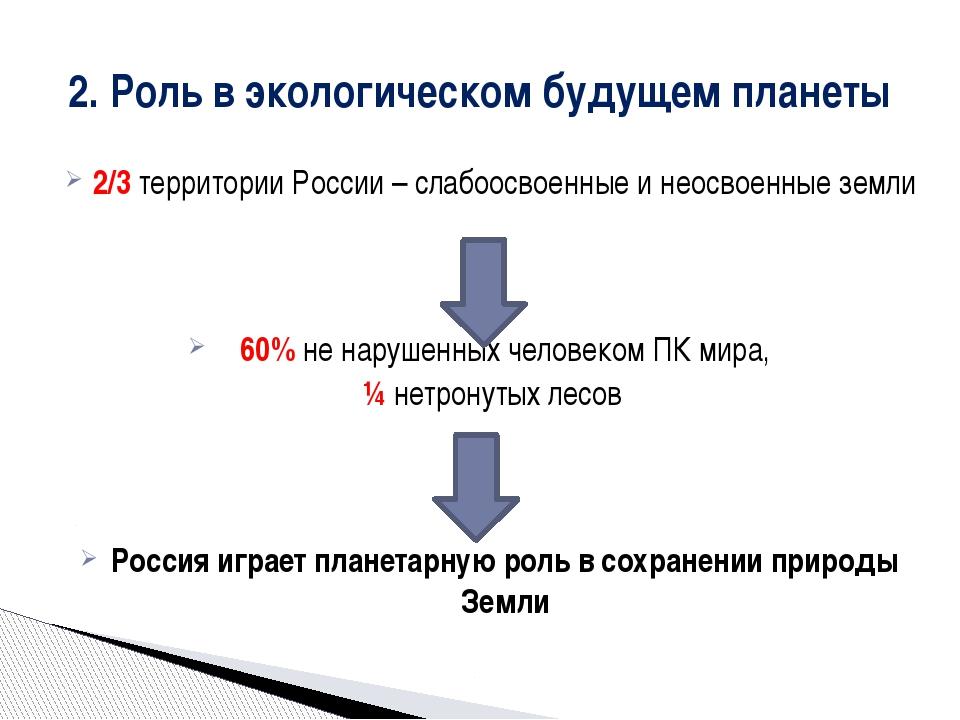 2/3 территории России – слабоосвоенные и неосвоенные земли 60% не нарушенных...