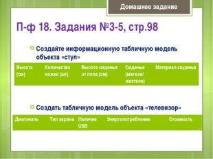 П-ф 18. Задания №3-5, стр.98 Создайте информационную табличную модель объекта