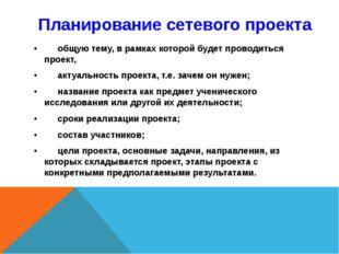 Планирование сетевого проекта •общую тему, в рамках которой будет проводитьс
