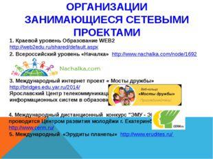 ОРГАНИЗАЦИИ ЗАНИМАЮЩИЕСЯ СЕТЕВЫМИ ПРОЕКТАМИ 1. Краевой уровень Образование WE