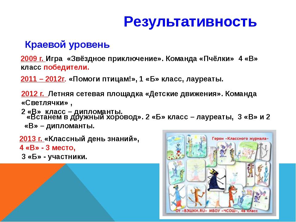 Результативность Краевой уровень 2009 г. Игра «Звёздное приключение». Команда...
