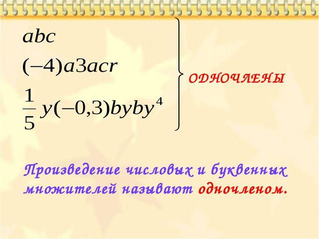 ОДНОЧЛЕНЫ Произведение числовых и буквенных множителей называют одночленом.