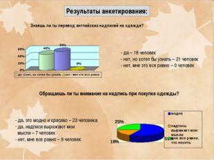 Результаты анкетирования: Знаешь ли ты перевод английских надписей на одежде?