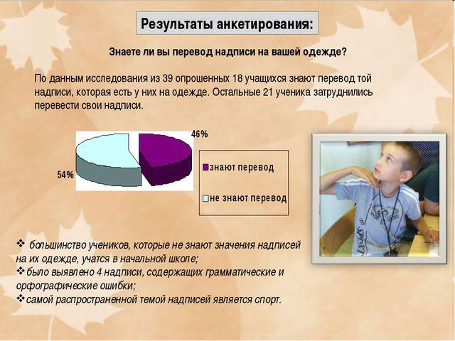 Результаты анкетирования: Знаете ли вы перевод надписи на вашей одежде? По да...