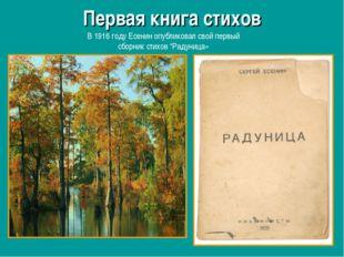 Первая книга стихов В 1916 году Есенин опубликовал свой первый сборник стихов