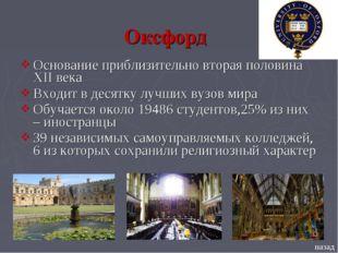 Основание приблизительно вторая половина XII века Входит в десятку лучших вуз