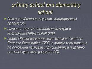 primary school или elementary school. более углубленное изучение традиционных