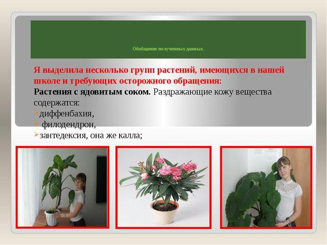 Обобщение полученных данных. Я выделила несколько групп растений, имеющихся...