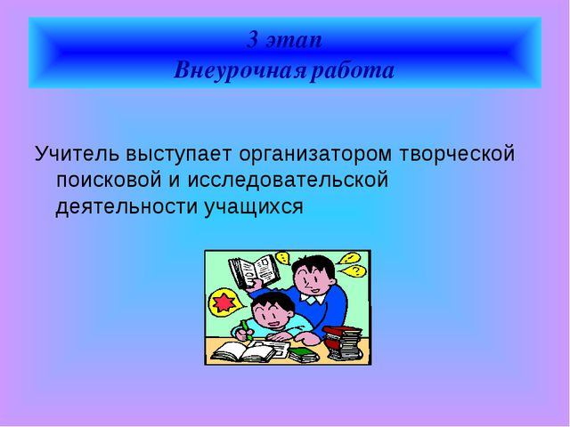 3 этап Внеурочная работа  Учитель выступает организатором творческой поисков...